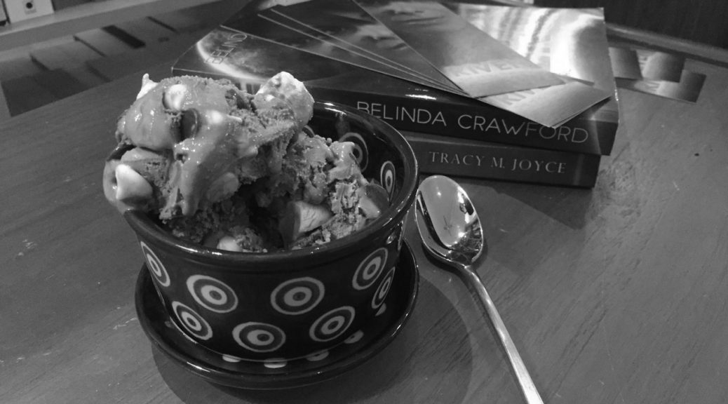 A scoop of triple chocolate marshmallow ice-cream.