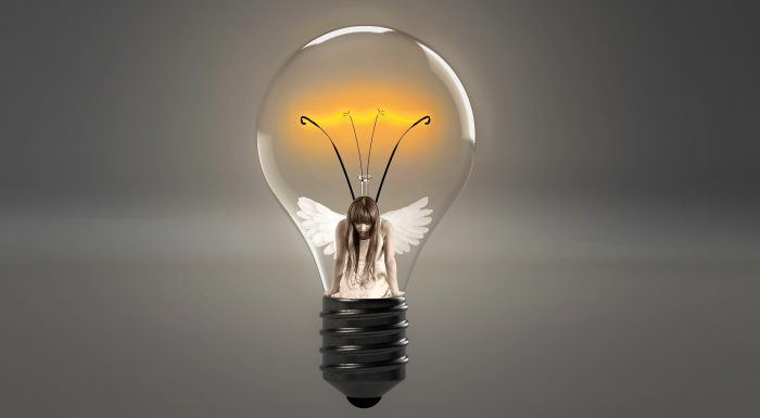 Fairy girl in a lightbulb