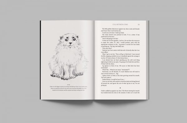 An interior layout from the special edition of Cold Between Stars, featuring an illustration of Dude.