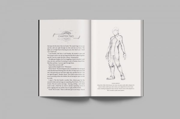 An interior layout from the special edition of Cold Between Stars, featuring an illustration of Kuma.
