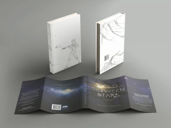 The hardcover edition of Cold Between Stars showing the special illustrated cover under the dust jacket.