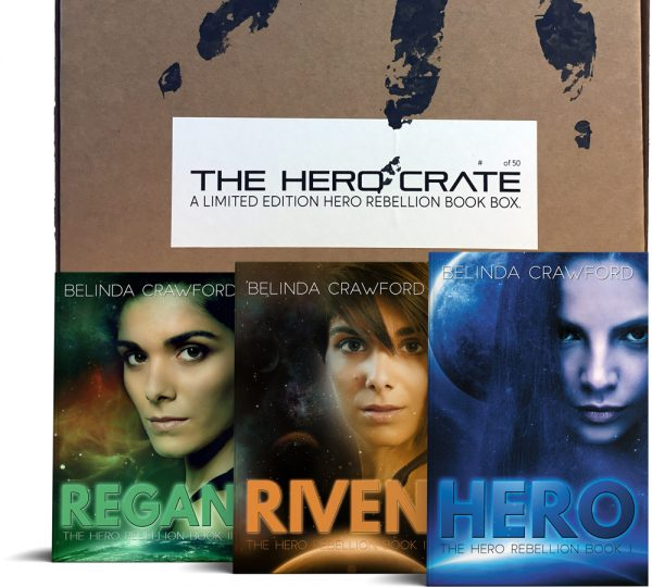 The limited edition Hero Crate book box with the Hero Rebellion book trilogy, featuring the original covers.