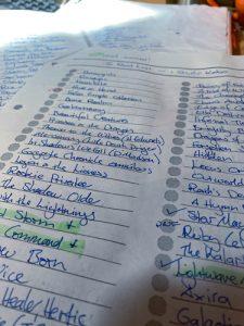 Photo of my handwritten TBR list.